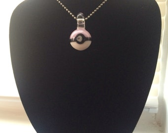 glass pokeball necklace pendant  pink