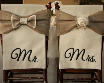 Wedding Chair Covers,  Mr & Mrs Chair Covers, Chiavari Chair Covers, Rustic Wedding