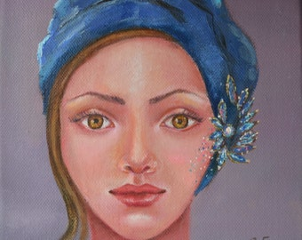 Original oil painting on canvas. Girl in a blue scarf