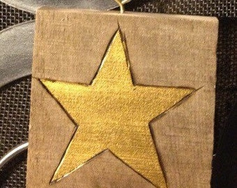 Wood Burned hand painted star ornament