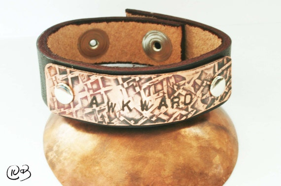 AWKWARD leather and copper bracelet. Celebrate your awkwardness!