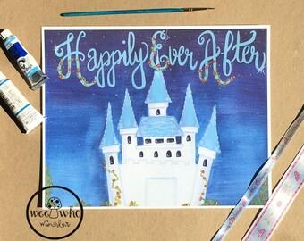 Happily Ever After Kids Nursery Art Print, Children's Room Decor, Watercolor/Gouache Print