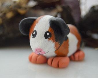 OOAK Handmade Polymer Clay Guinea Pig Sculpture
