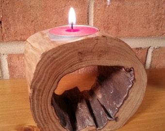 Hollow Log Tealight Holder