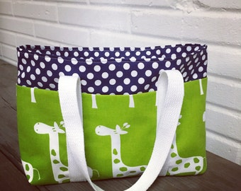 Giraffe Small 6 pocket tote bag