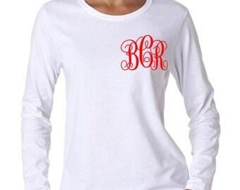 Monogram shirt, Long sleeve tshirt, Valentine tshirt, Initial shirt, birthday shirt, Mothers gift shirt, Birthday gift shirt
