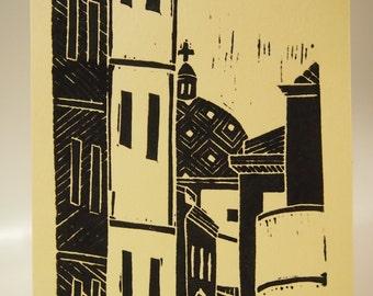 Alghero Linocut Print