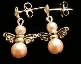 Silver plated angel stud earrings