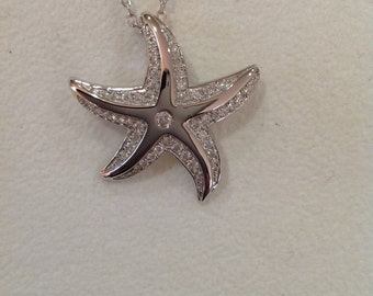 "Sterling silver and cz starfish sea life pendant necklace on 18"" ss chain."