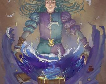 Wizard . The tarot series anime illustration