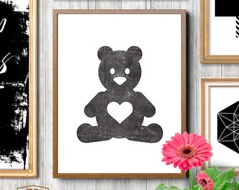 Bear Wall Art teddy bear wall art | etsy