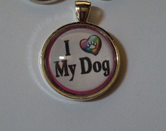 I Love My Dog Pet Tag or Key Chain