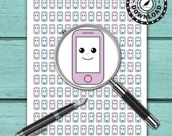 Kawaii Planner Stickers Phone Call Stickers   Download Printable Planner Stickers   Instant Download (ni8)