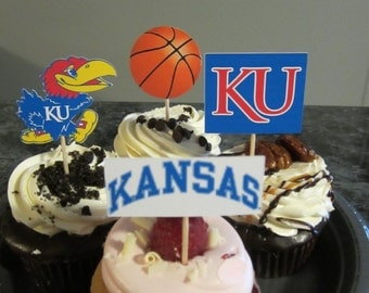 Cupcake toppers, party supplies, Kansas Jayhawks, basketball, sports theme, NCAA, March Madness, college