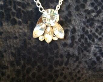 Sale!! Vintage repurposed 1950s Rhinestone Necklace