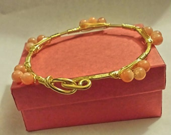 Peach Candy Jade Wirewrapped Bangle