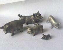 Vintage Spoontiques Pewter Pig Lot - Pig Figurines - Vintage Pig Sculptures - Farm Animal Collectibles