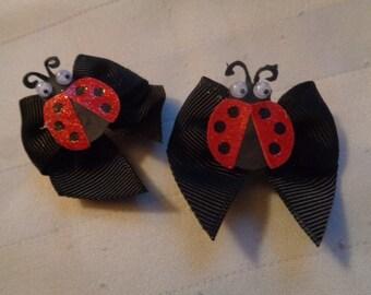Dog  Hair Bows/Barrettes.  Ladybug Black Red