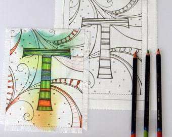 Adult colouring alphabet, printed onto fabric, for you to colour.