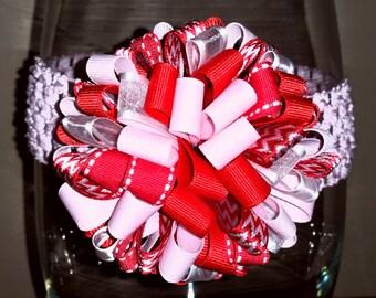 Pink/Red/White Pom Pom Bow Waffle Headband