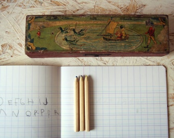 Box pencil - pencil box old wood decorated -.