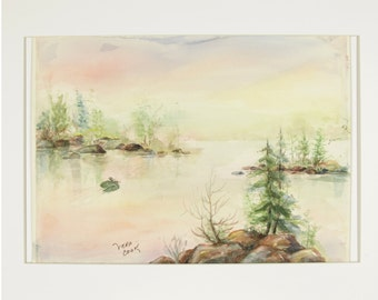 ORIGINAL painting, watercolo1r, nature, lake, water, trees, islands, morning, serene, scenic, gift art, 18x24/mounted 22x28