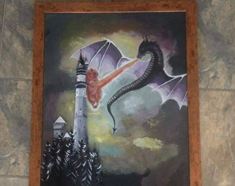 Dragon and castle dual layered acrylic painting