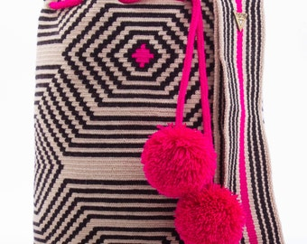 Gorgeous pink, black and white single stitch Colombian bags