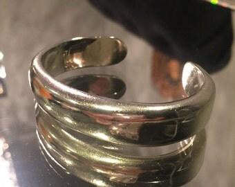 Vintage Modernist Sterling Silver 925 Cuff Bracelet Heavy and Solid