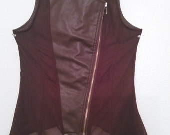 Brown Faux Leather sheer party vest