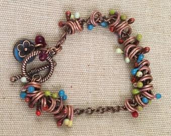 Enamel charm chain bracelet