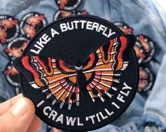Like a Butterfly Patch by Life Club - Patch denim jacket patch, butterfly patch, butterflies, embroidered patch, punk patch, butterfly wings