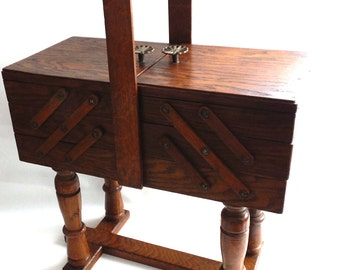 Sewing Chest, Antique Wooden Sewing Box On Legs. Storage Box For Sewing  Supplies Or