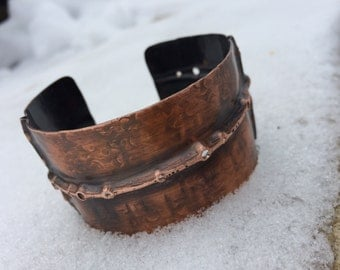 Hand forged hammered copper cuff bracelet