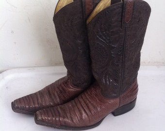 Brown and black men's cowboy boots, from real leather, soft leather, vintage style, western boots, old boots, retro boots, men's size 9.