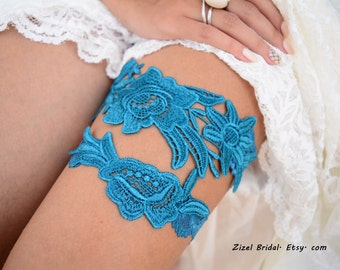 Wedding Garter, Teal Blue Garter, Bridal Garter, Blue Lace Garter, Bridal Garter Set, Something Blue, Wedding Garter Blue, Lace Garter Set