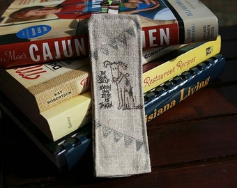 2 Linen Bookmarks Be Yourself and Dressform