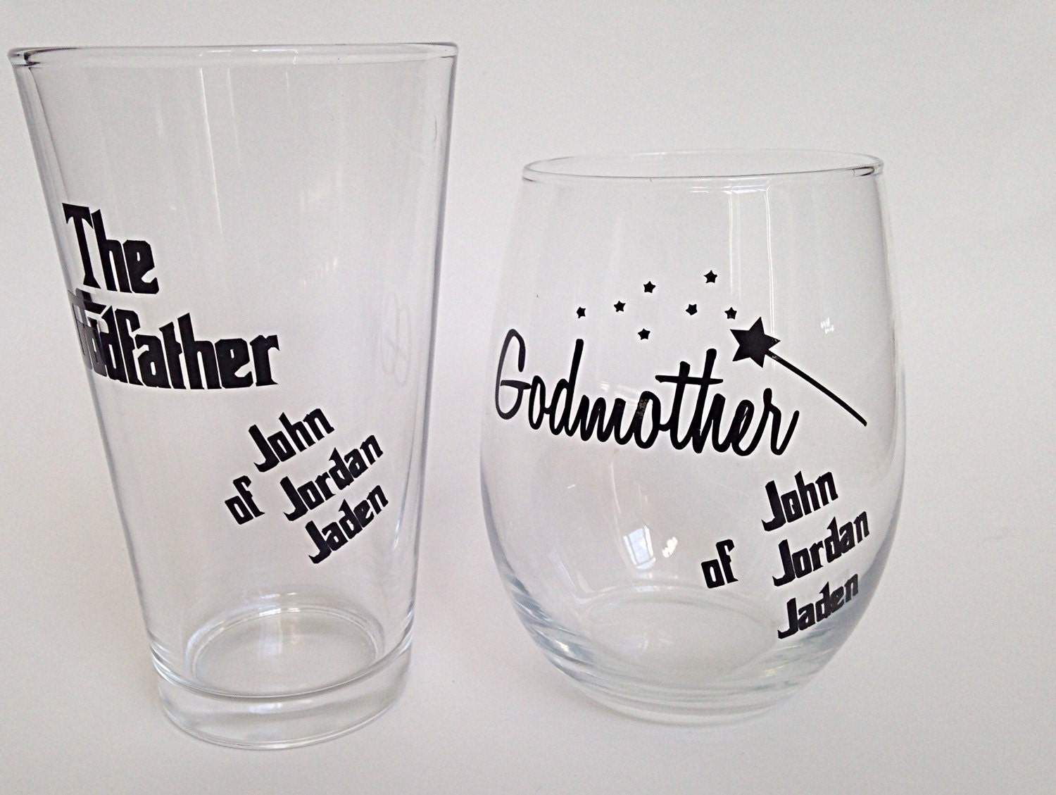 Godmother Gift Godparent Gift Personalized Gift For: Godparent Glass Set 2 Godparent Gift Godparent Glasses
