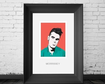 Morrissey, The Smiths songwriter and singer and solo artist. Poster A4, A3 and A2 poster sizes available. By Mike Moran