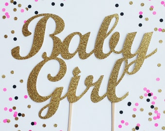 Baby Girl Cake Topper - Silver or Gold Glitter Baby Cake Topper - Baby Shower Decor // Gender Reveal Party Decoration