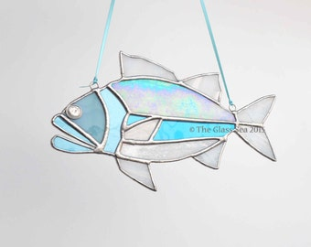 Stained Glass Fish Suncatcher Glass Art, Nautical Aquatic Fish Seaside Glass Art Designed & Handmade by The Glass Sea