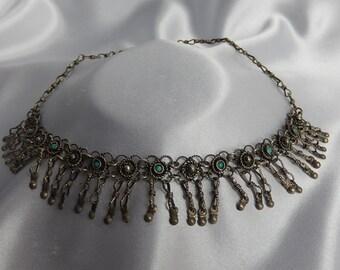 Old metal necklace silver enamelled Yemen, the bells