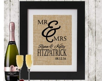 Personalized Wedding Gift MR MRS - Personalized Gift for Couple - Wedding Date - Custom Wedding Sign - Wedding Gift for Couple - Burlap Sign