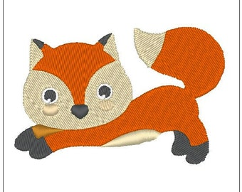 jumping Fox embroidery woodland camping embroidery pattern download for Machine Embroidery for 4X4 hoop