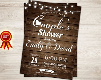 Rustic Couples Shower Invitation. Couples Wedding Shower Invite. Printable Couples Shower Invitation. Wood. Co-ed Wedding Shower Invitation