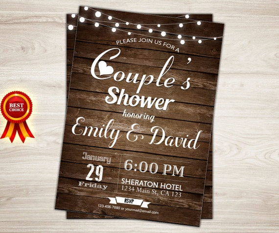 rustic couples shower invitation couples wedding shower