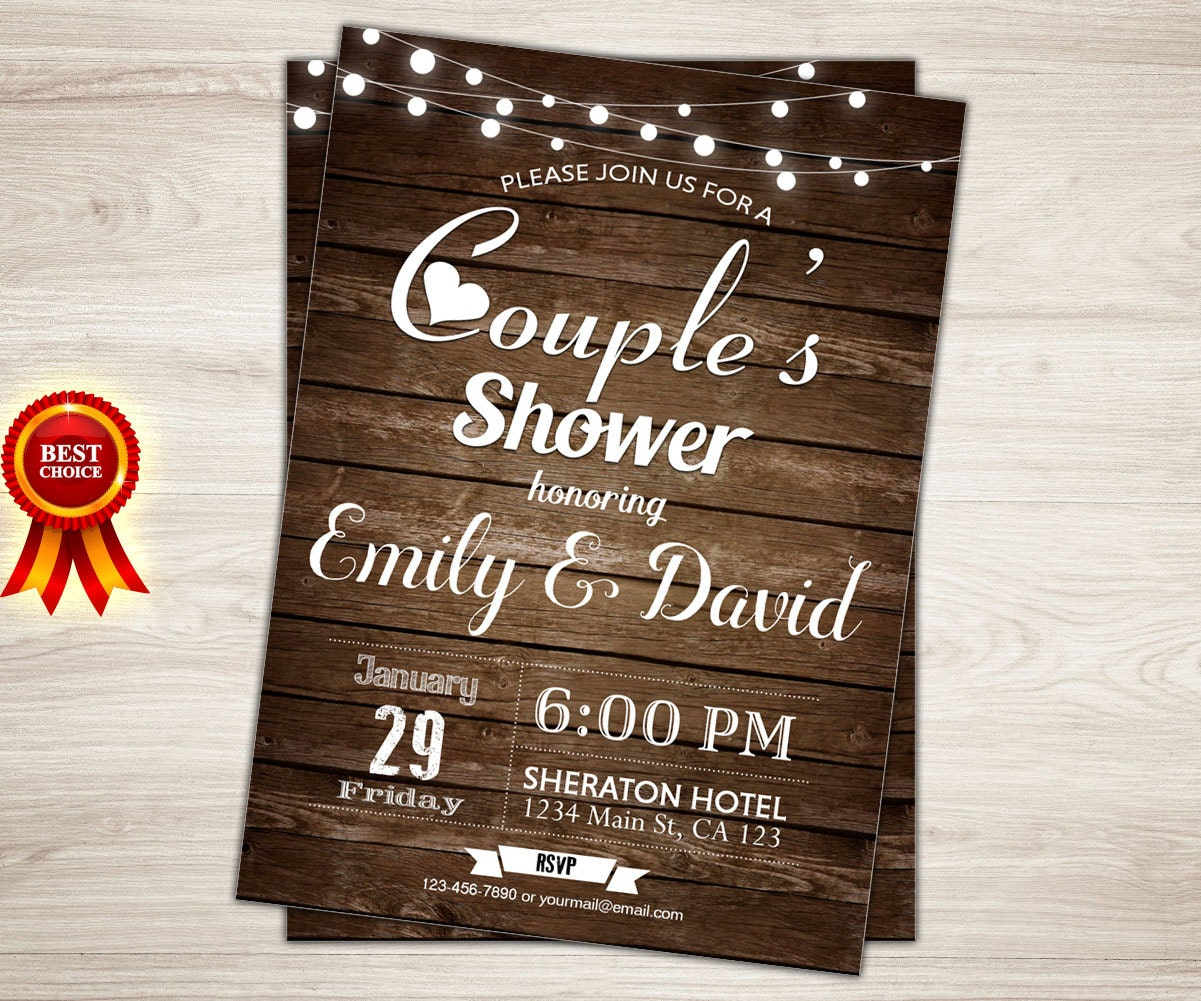 Rustic Couples Shower Invitation. Couples Wedding Shower