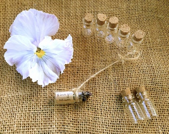 20x  2cm  thin small glass bottles with corks for craft projects, wedding favor