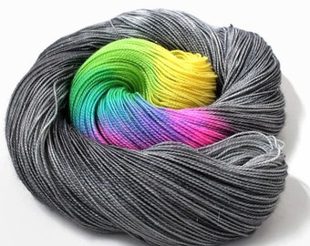 Hand Dyed Yarn - Hand Dyed Sock Yarn - Superwash Merino Wool with Stellina in 'Broken Rainbow'
