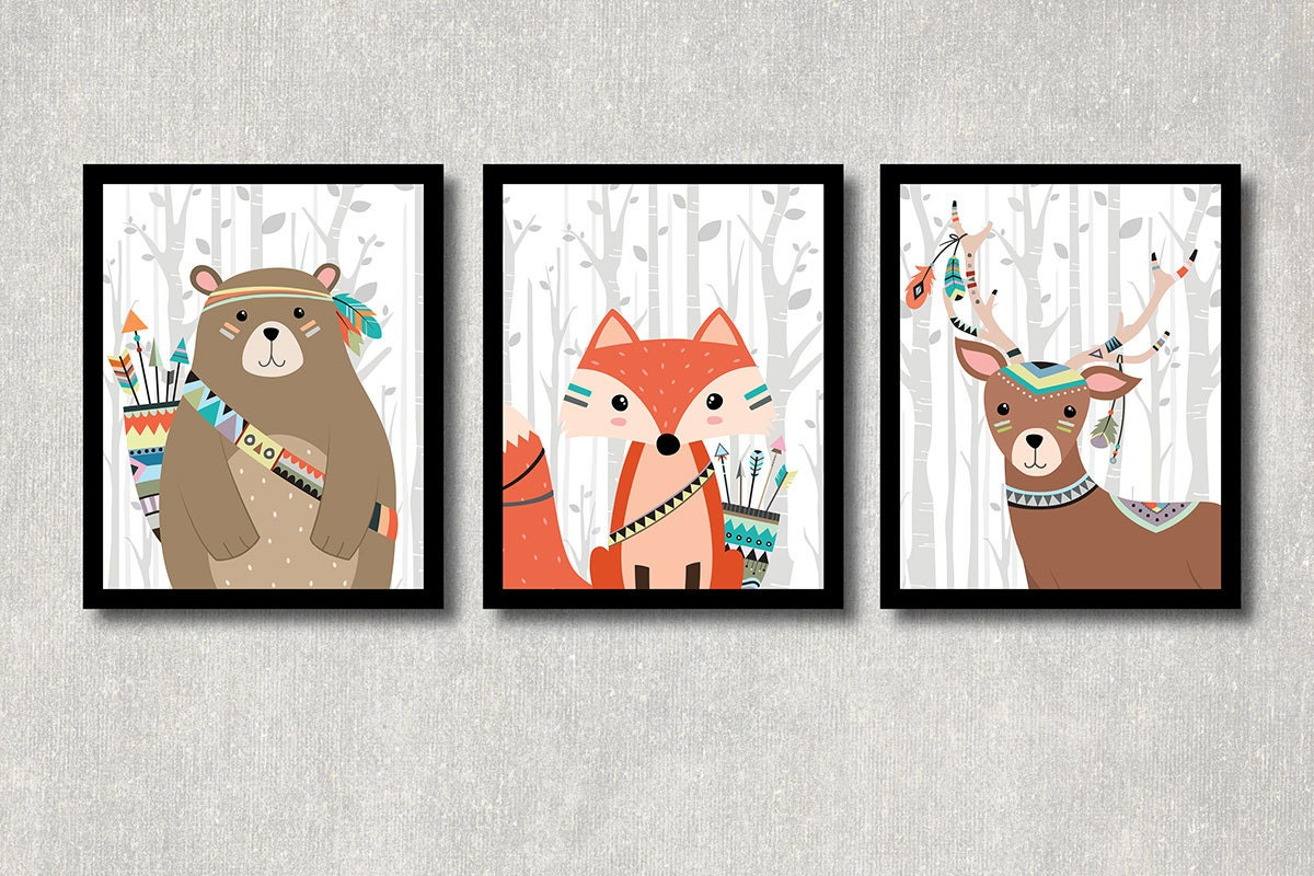 Tribal Animals Set Printable Nursery Wall Decor Woodland